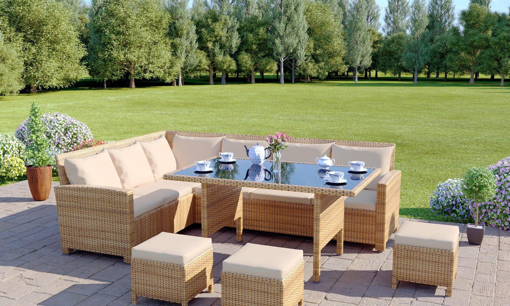9 Seat Light Brown Rattan Garden Furniture Corner Sofa Dining Set in rattan furniture