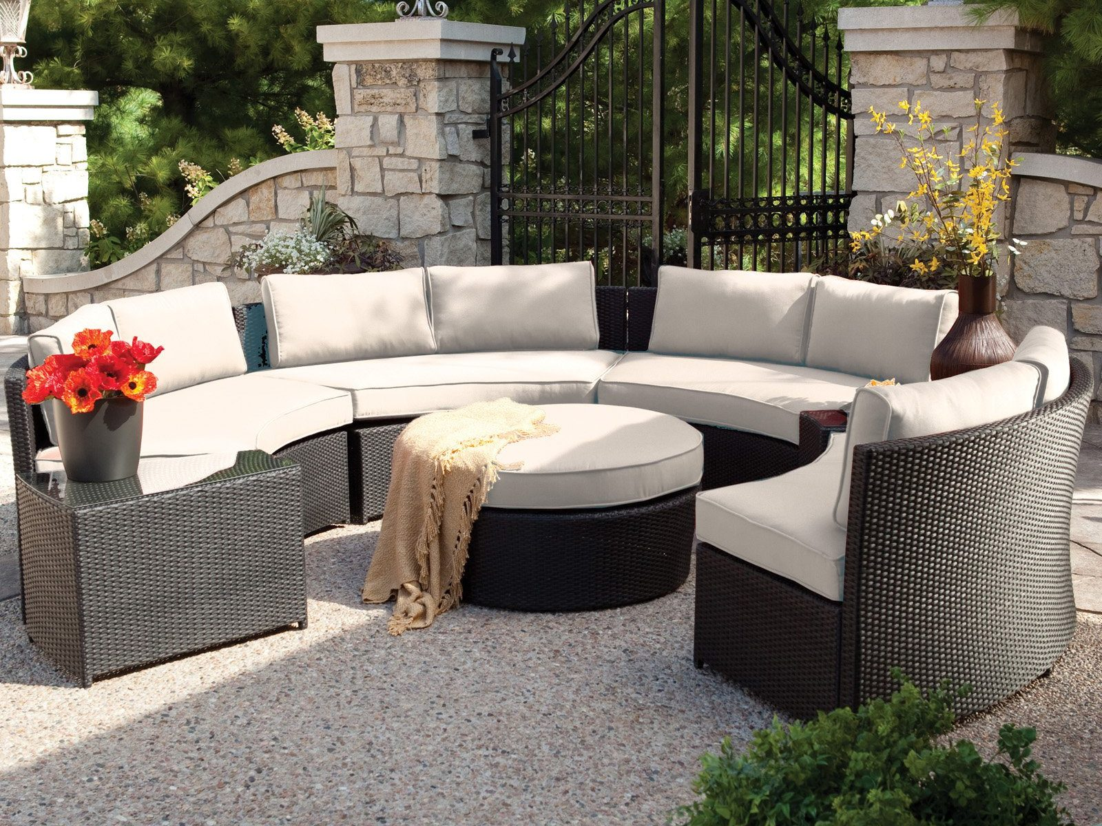 Belham Living Meridian Round Outdoor Wicker Patio Furniture Set With in Wicker Patio Furniture