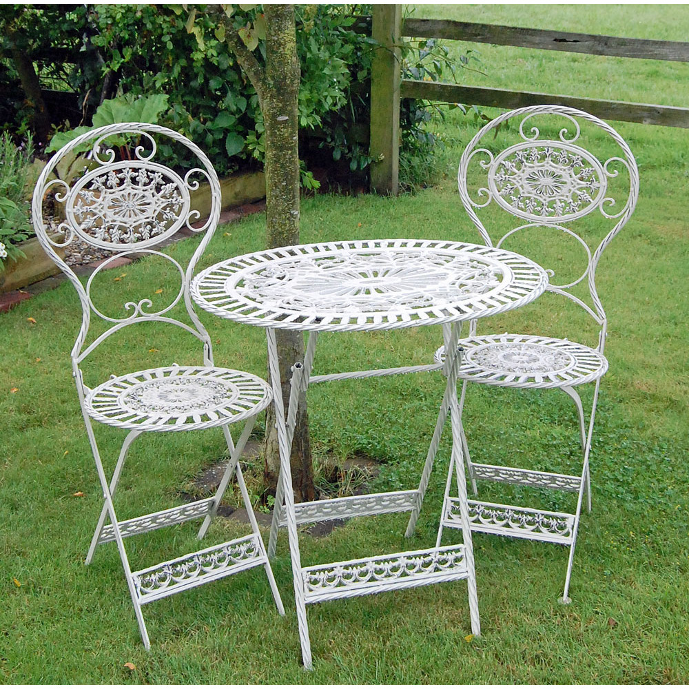 Classic Estate Cream Cast Metal Garden Table And Chairs inside Garden Table And Chairs