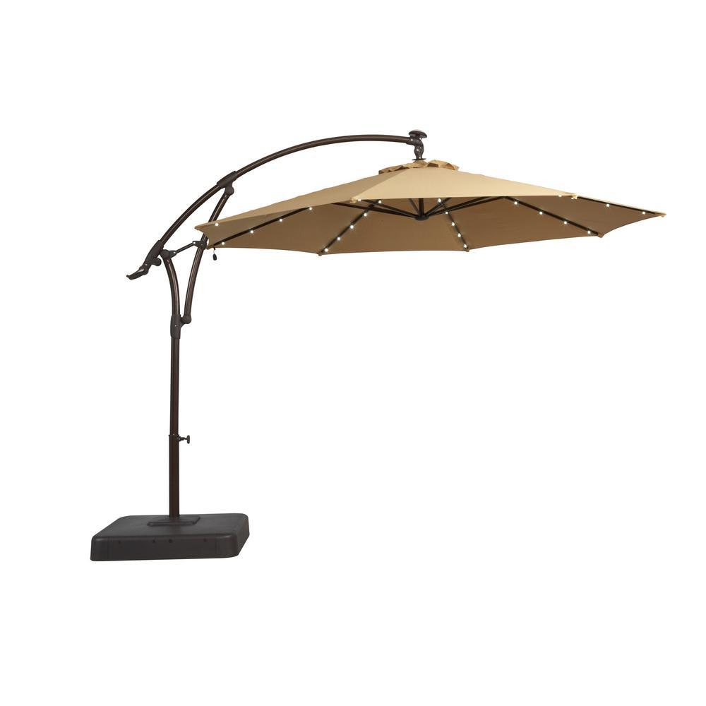 Hampton Bay 11 Ft Solar Offset Patio Umbrella In Cafe Yjaf052 Cafe intended for Patio Umbrella