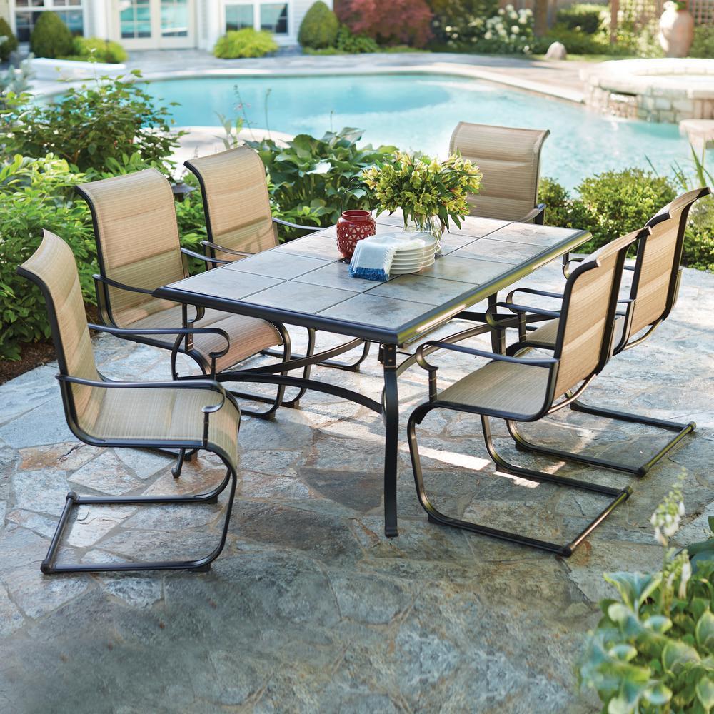 Hampton Bay Belleville 7 Piece Padded Sling Outdoor Dining Set regarding outdoor dining sets
