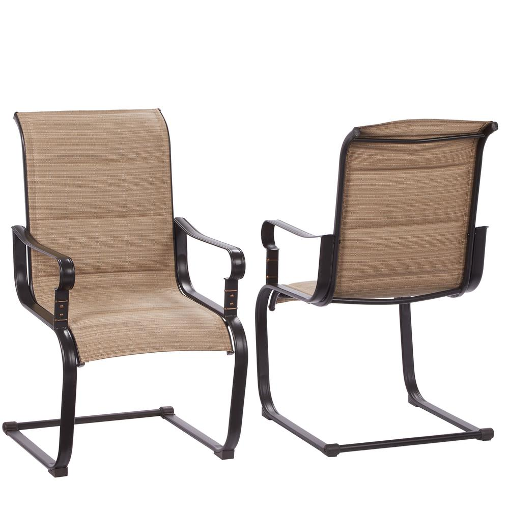Hampton Bay Belleville Rocking Padded Sling Outdoor Dining Chairs 2 inside patio chairs with regard to Your home