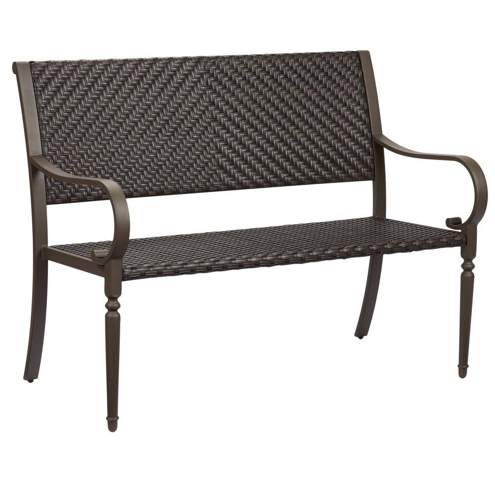 Hampton Bay Commack Brown Wicker Outdoor Bench 760008000 The throughout outdoor bench