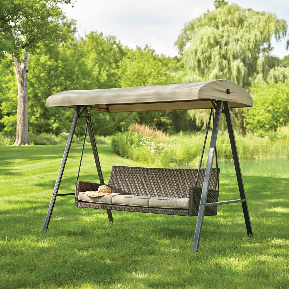 Hampton Bay Plaistow 3 Person Wicker Outdoor Swing With Canopy in patio swing