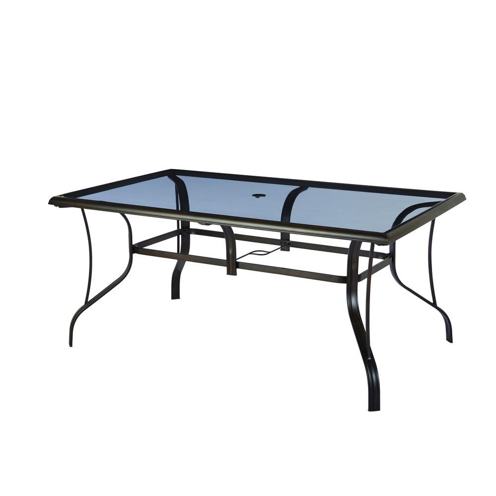 Hampton Bay Statesville Rectangular Glass Patio Dining Table regarding Patio Table