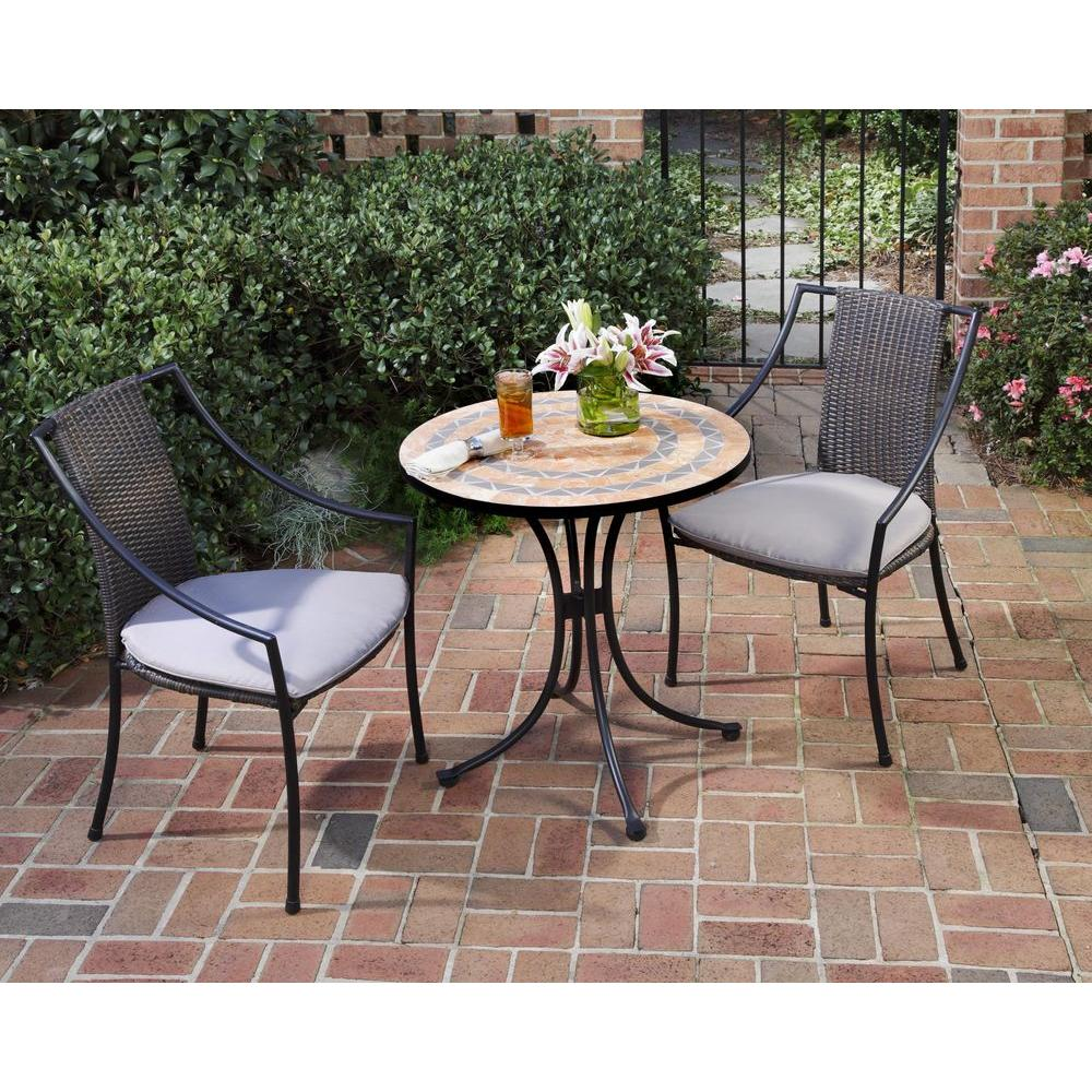 Home Styles Terra Cotta 3 Piece Tile Top Patio Bistro Set With Taupe within Outdoor Bistro Set