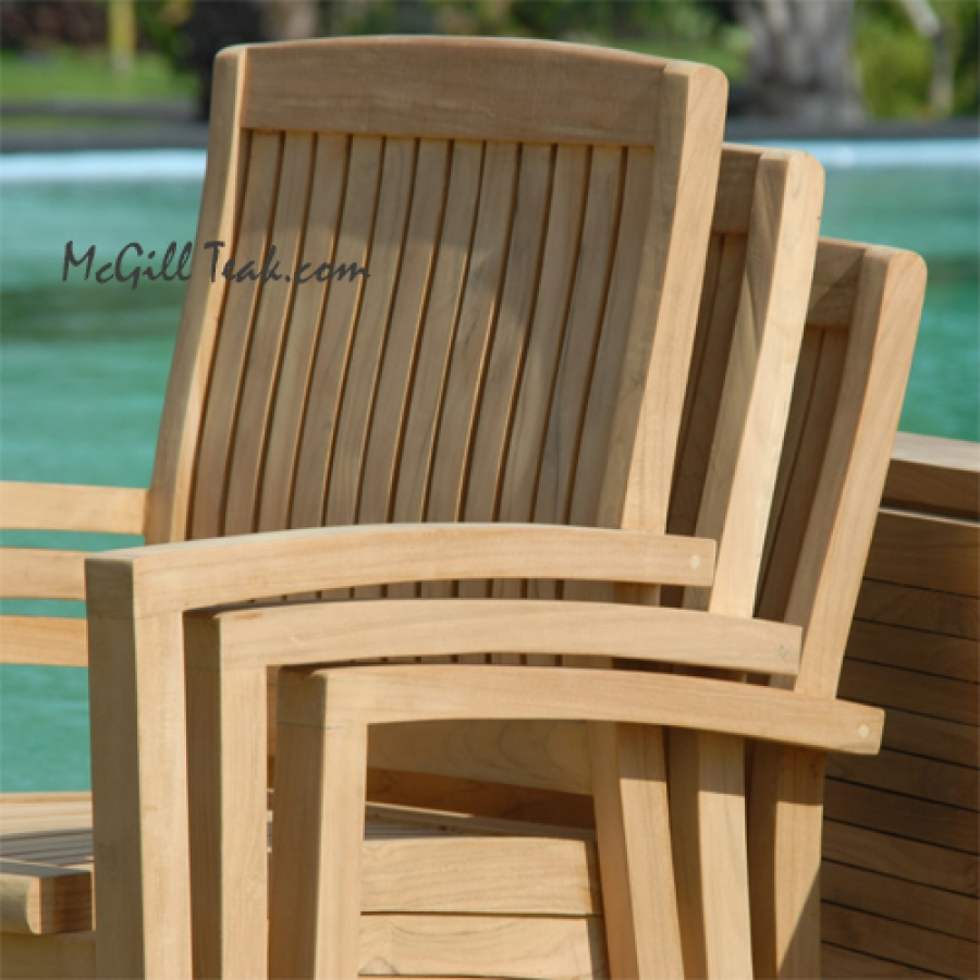 stackable teak chair teak patio dining tropez round table tenafly stacking chairstackable teak chair