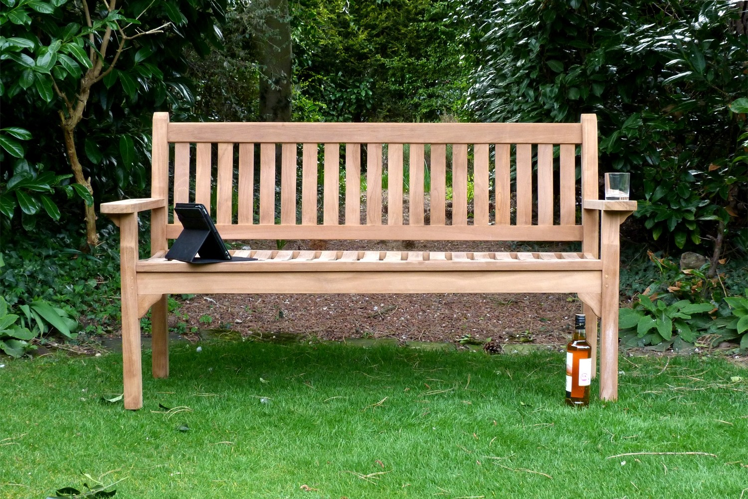 Westminster Flat Arm Teak Bench 3 Seater 15m Sloane Sons in garden benches with regard to Home